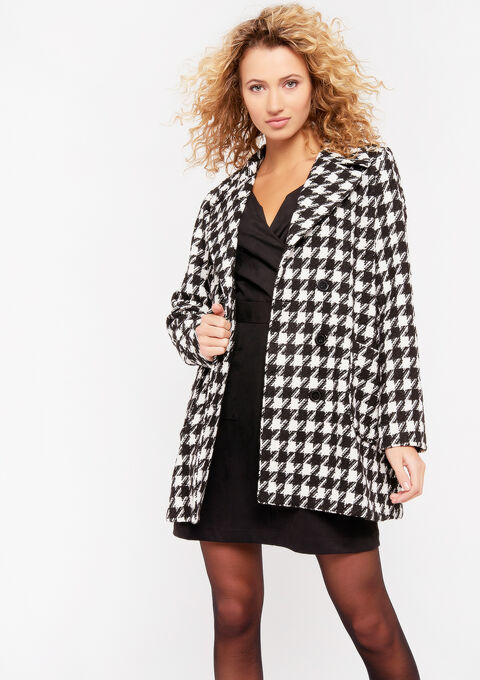 Mantel met pied-de-poule print - BLACK & WHITE MEL - 974911
