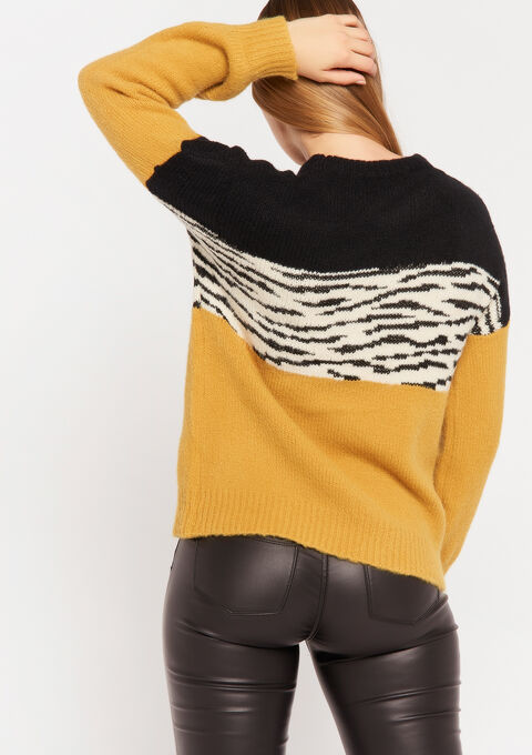 Color block zebra trui - YELLOW MINERAL - 04005011_1222