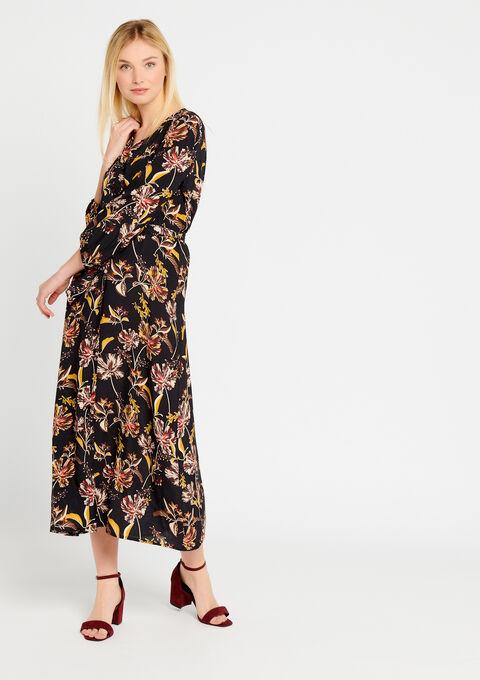 Maxi-jurk met bloemenprint - BLACK - 08600115_1119