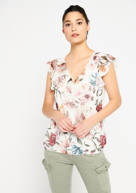 T-shirt met bloemenprint - WHITE ALYSSUM - 02300268_2502