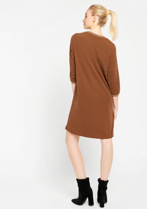 Rechte jurk met lurex - CARAMEL - 08100554_1953