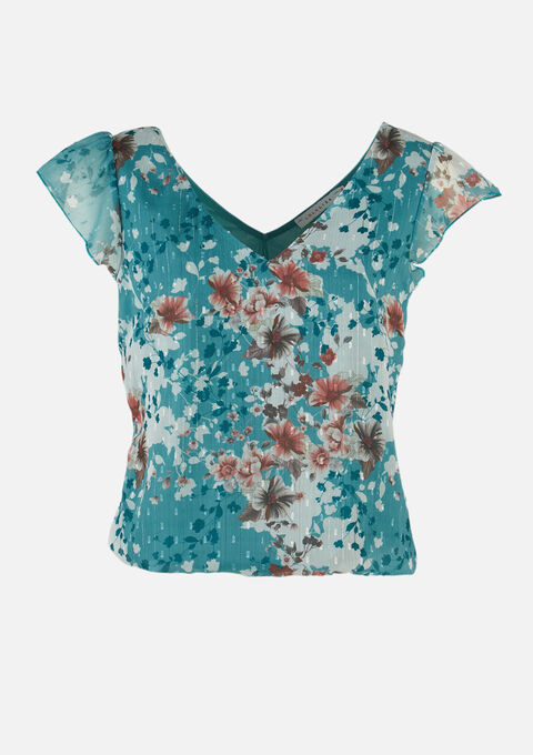 T-shirt met bloemenpatroon - AQUA GREEN - 02300702_1763