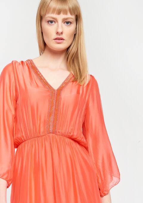Mini jurk zijde - CORAL GERBERIA - 08006065_5405