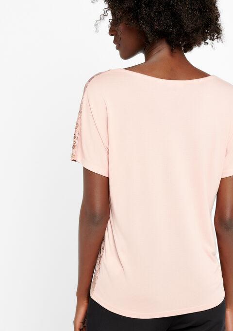 T-shirt in 2 stoffen, print - COSMI PINK - 02300145_4101