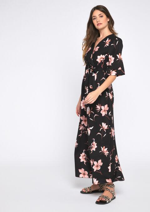 Lange jurk met kimono-mouwen - BLACK - 08600980_1119