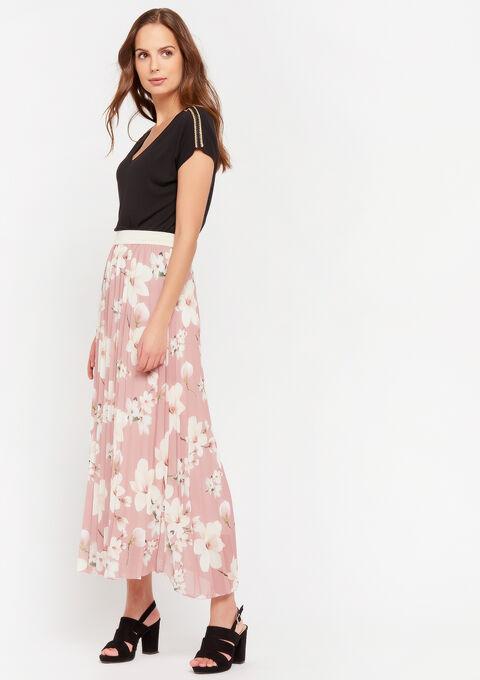 Maxi rok bloemenprint en plisse - PINK BLUSH - 07100702_1315