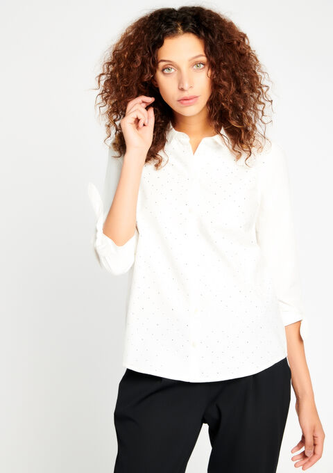 Poplin blouse, strass decoration - OPTICAL WHITE - 05003414_1019