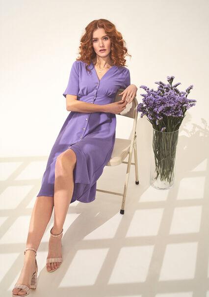 Lange getailleerde jurk met V-hals - LILA LAVENDER - 08102495_1332