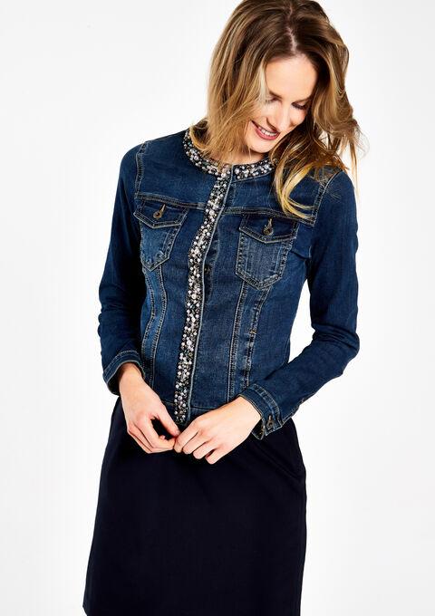 Jeansvest met strass en parels - MEDIUM BLUE - 09001137_500