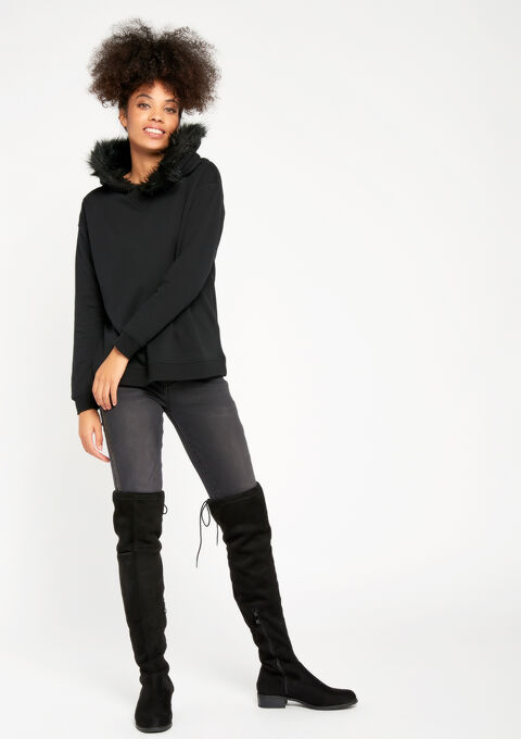 Sweater met kap, imitatiebont - BLACK - 03001231_1119