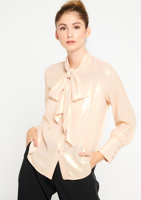 Blouse met strikkraag in voile - EVENING SAND - 05700236_5807