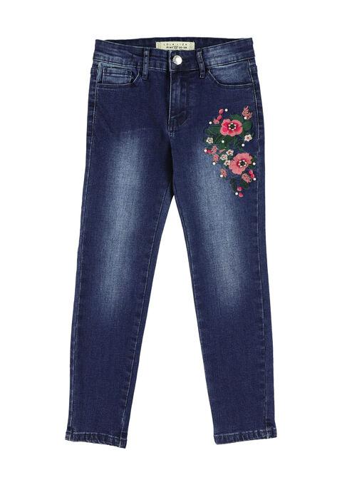 Jeans met bloemen en parels - DARK BLUE - 06003684_501