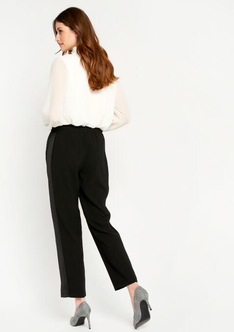 Elegante jog pants met tape in satijn - BLACK - 06600069_1119