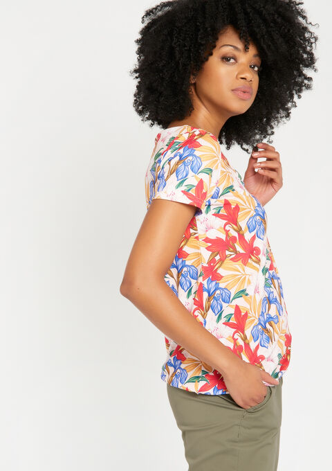 T-shirt met print & versierde v-hals - PINK CALM - 02300161_4102