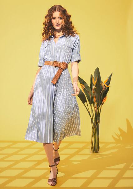 Midi overhemd jurk met strepen - BLUE BABY - 08102465_1699