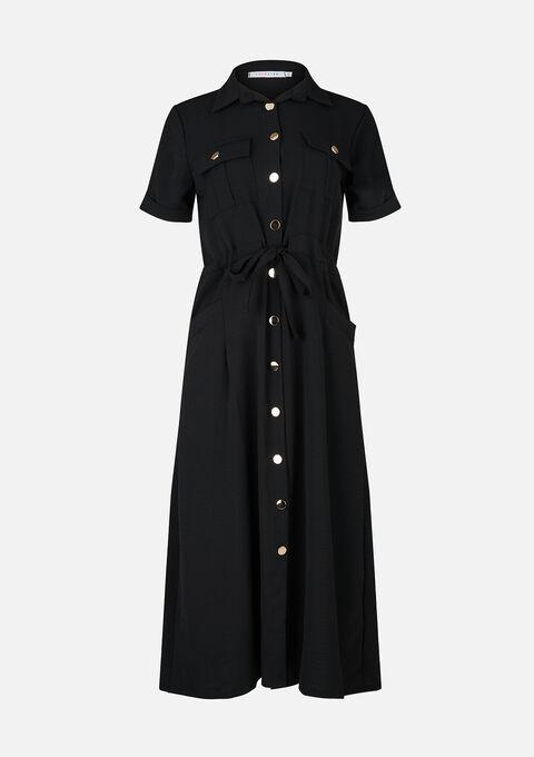 Maxi jurk met kraag en army look - BLACK - 08601112_1119