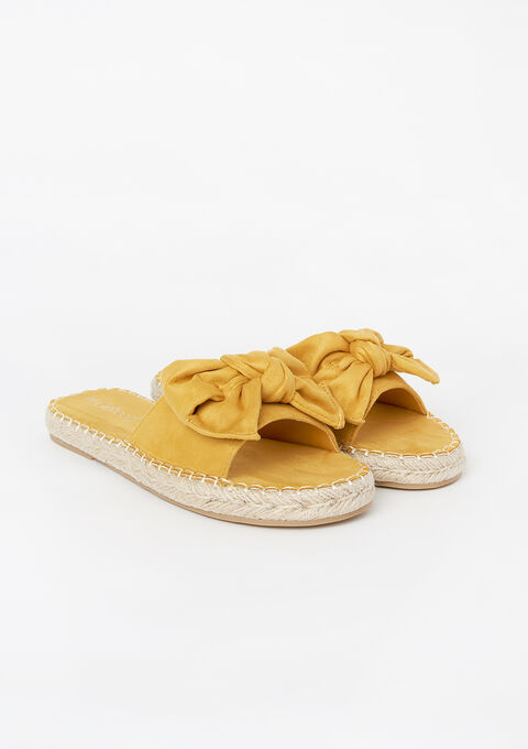 Flat sandals with bow - LEMON CURRY - 13000374_1237