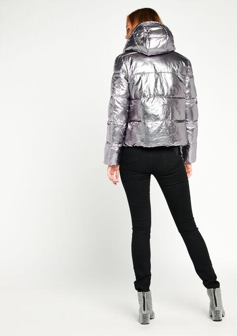 Gewatteerde jas met kap - METALLIC - 900146