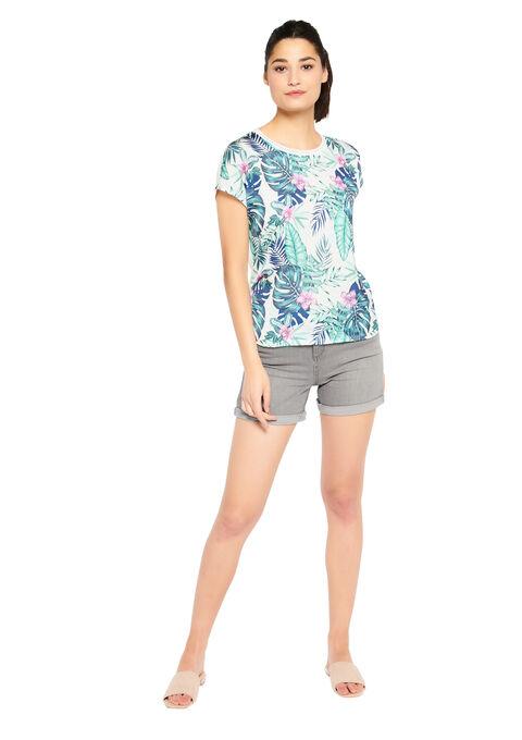 T-shirt met tropische print - GREEN DUSTY - 02300377_4704