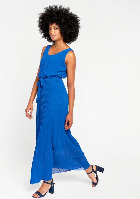Lange jurk met plissérok - ELECTRIC BLUE - 08100070_1619
