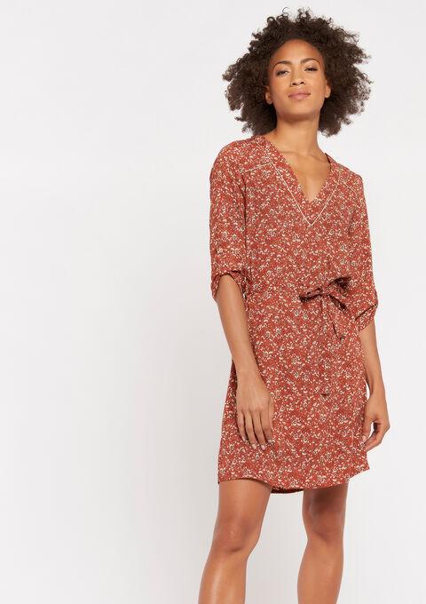 Robe mini imprimée - CARAMEL - 08101597_1953