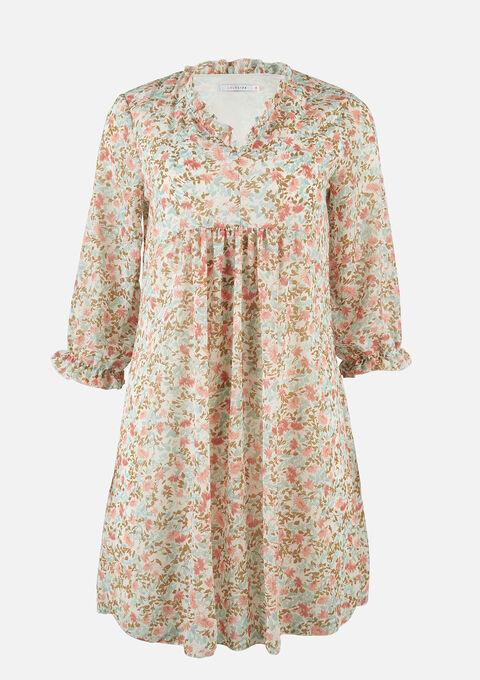 Babydoll jurk met bloemenprint - OFFWHITE - 08102229_1001