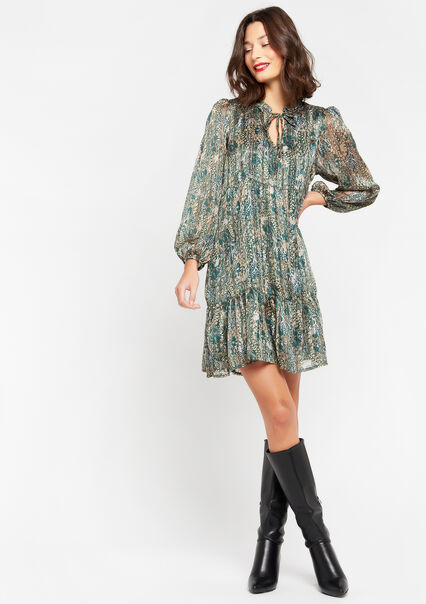 Floral mini babydoll dress - EMERALD - 08102364_1740