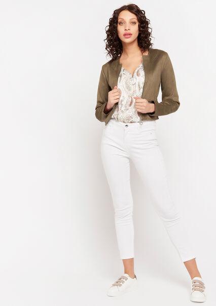 Jacket suede with zipper - KHAKI - 09100422_433