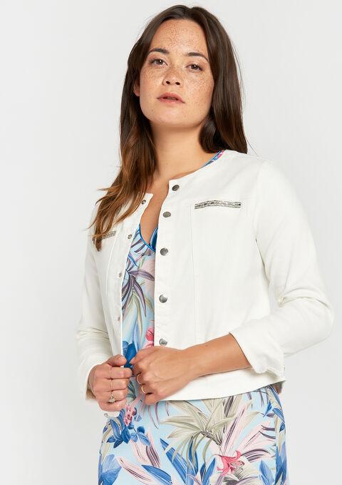 Katoenen jas zonder kraag - WHITE ALYSSUM - 09100223_2502
