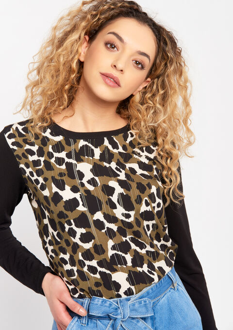 Sweatshirt with camouflage print - KHAKI MILD - 03001490_4318