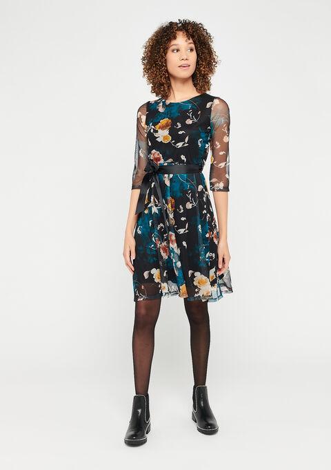 Visnet jurk met bloemenprint - GREEN TEAL - 08101600_4503