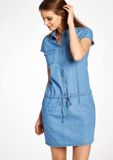add634248fe0f8 Jeans jurk met korte mouwen en koord - MEDIUM BLUE - 812923