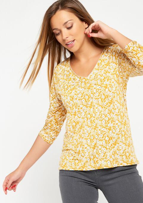 T-shirt met bloemenprint - LEMON CURRY - 02300178_1237