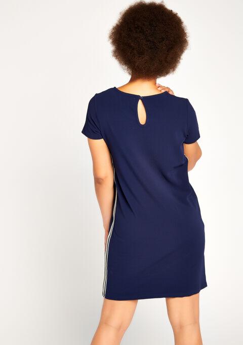 Rechte jurk met tape - NAVY PAPER - 08005887_2708