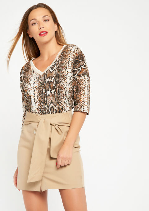 f5483ffd0c Short straight skirt - BEIGE OAK - 07100145_4008