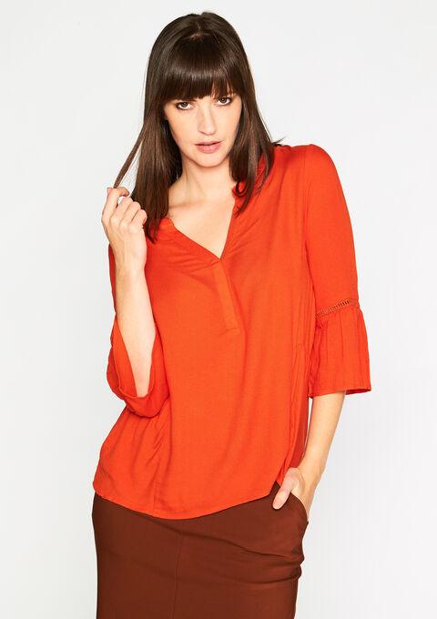 Effen blouse met V-hals - PUMPKIN PUREE - 05003061_1260