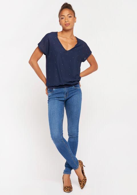 2 stoffen t-shirt - PEACOAT BLUE - 02300471_1655