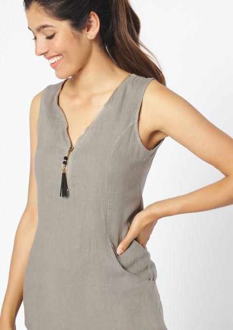Linnen jurk zonder mouwen - TAUPE - 08100759_1021