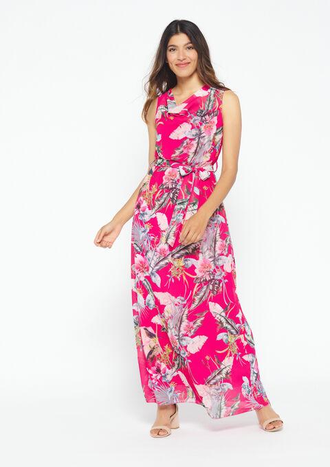 Lange jurk met bloemenprint - AKEBIA FUSHIA - 08600123_5613