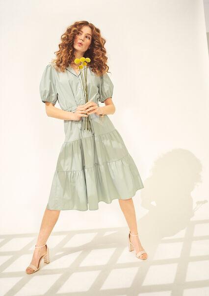 Robe mi-longue en popeline - ALMOND GREEN - 08601322_1724