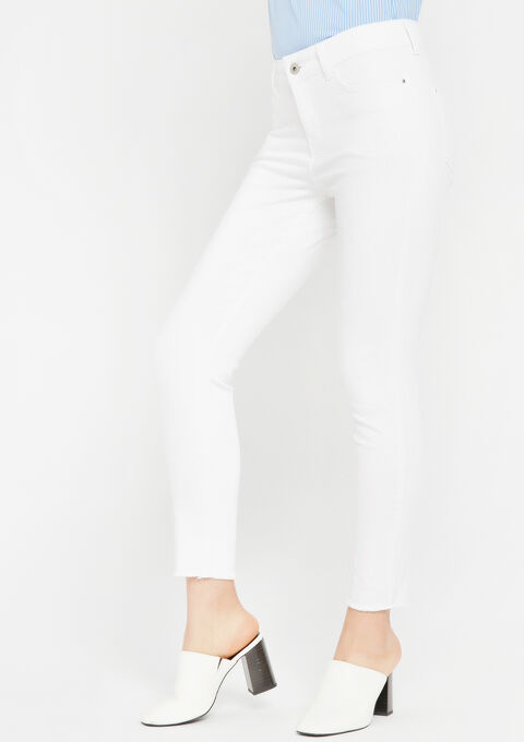 Jeans slim fit met gerafelde randen - OPTICAL WHITE - 22000068_1019