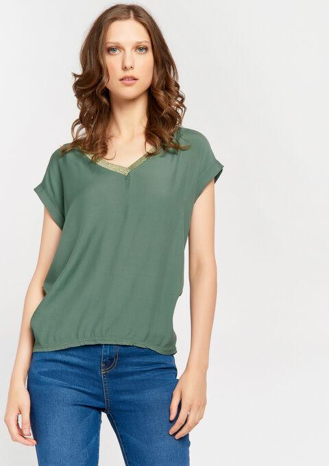 2 stoffen t-shirt met lurex v-hals - KHAKI CLIMBING - 02300508_4203