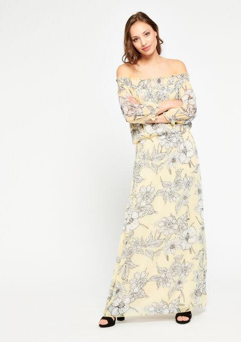 Carmen maxi-jurk met bloemenprint - YELLOW SUMMER - 08600134_1185