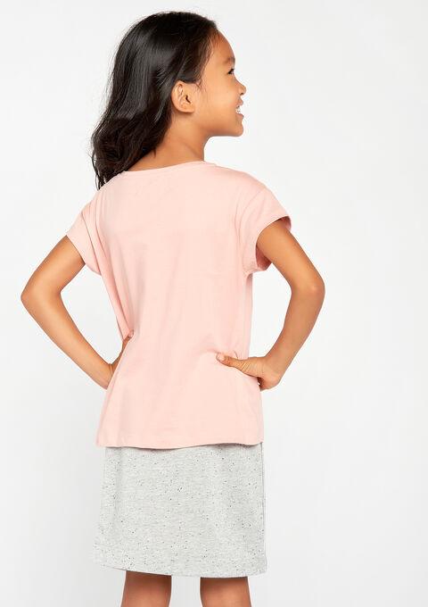 T-shirt met korte mouwen & print - BLUSH NUDE - 02005590_5808