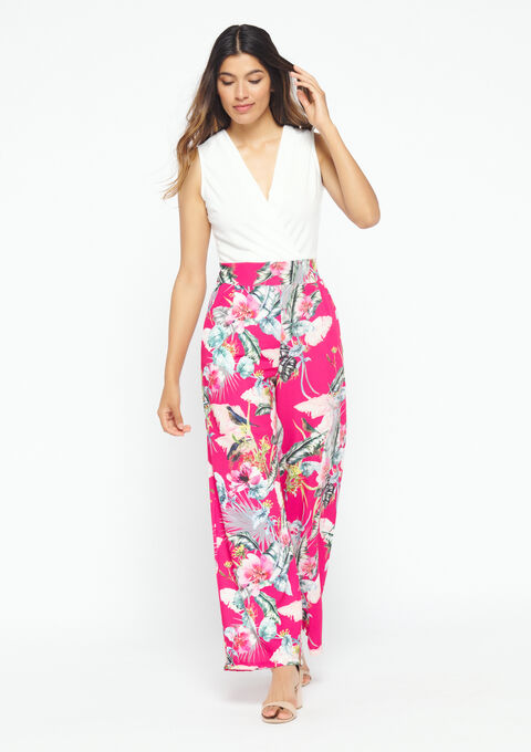 Jumpsuit, floral print & plain top - CLEMATITE FUCHSIA - 06003924_5612