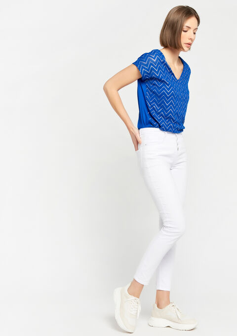T-shirt met zigzagpatroon, v-hals - BLUE ELECTRICAL - 02300189_2805