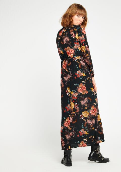 Lange jurk met bloemen & cache coeur - BLACK - 08600073_1119