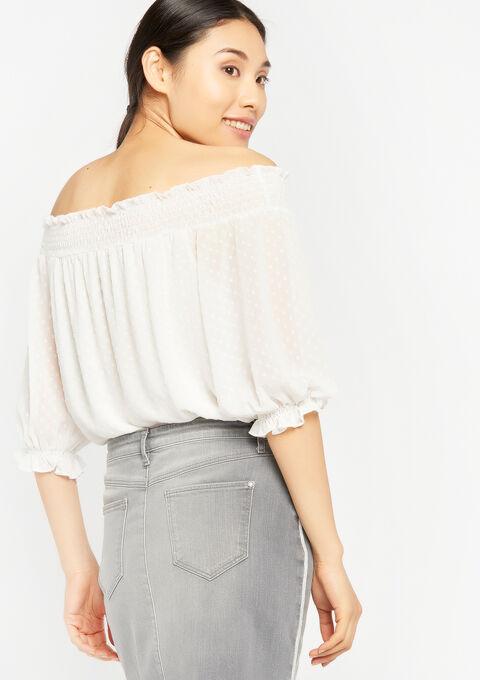 Carmen blouse met smokwerk - WHITE ALYSSUM - 05700334_2502