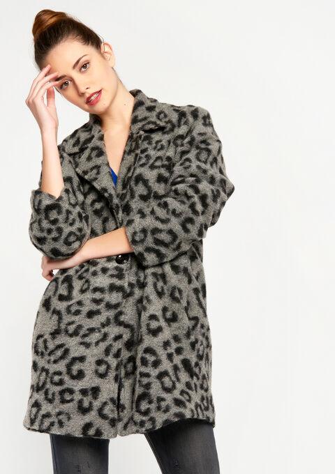 Oversized jas met luipaardprint - GREY GALET MEL. - 23000086_3505