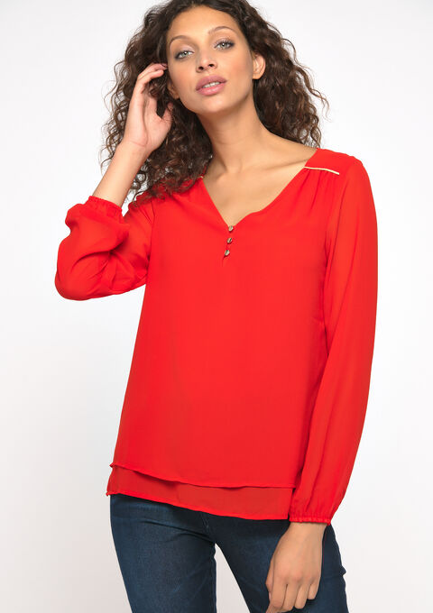 Blouse long sleeves - REAL RED - 05700368_1393